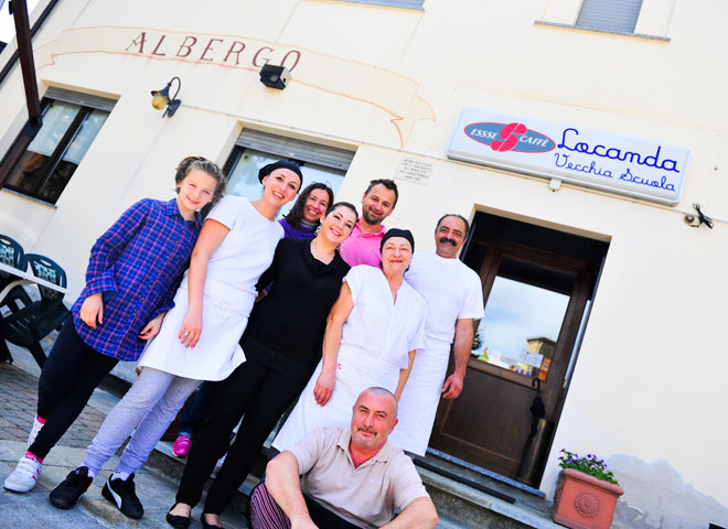 Restaurangen La Vecchia Scoula i Vigoleno, Emilia Romagna